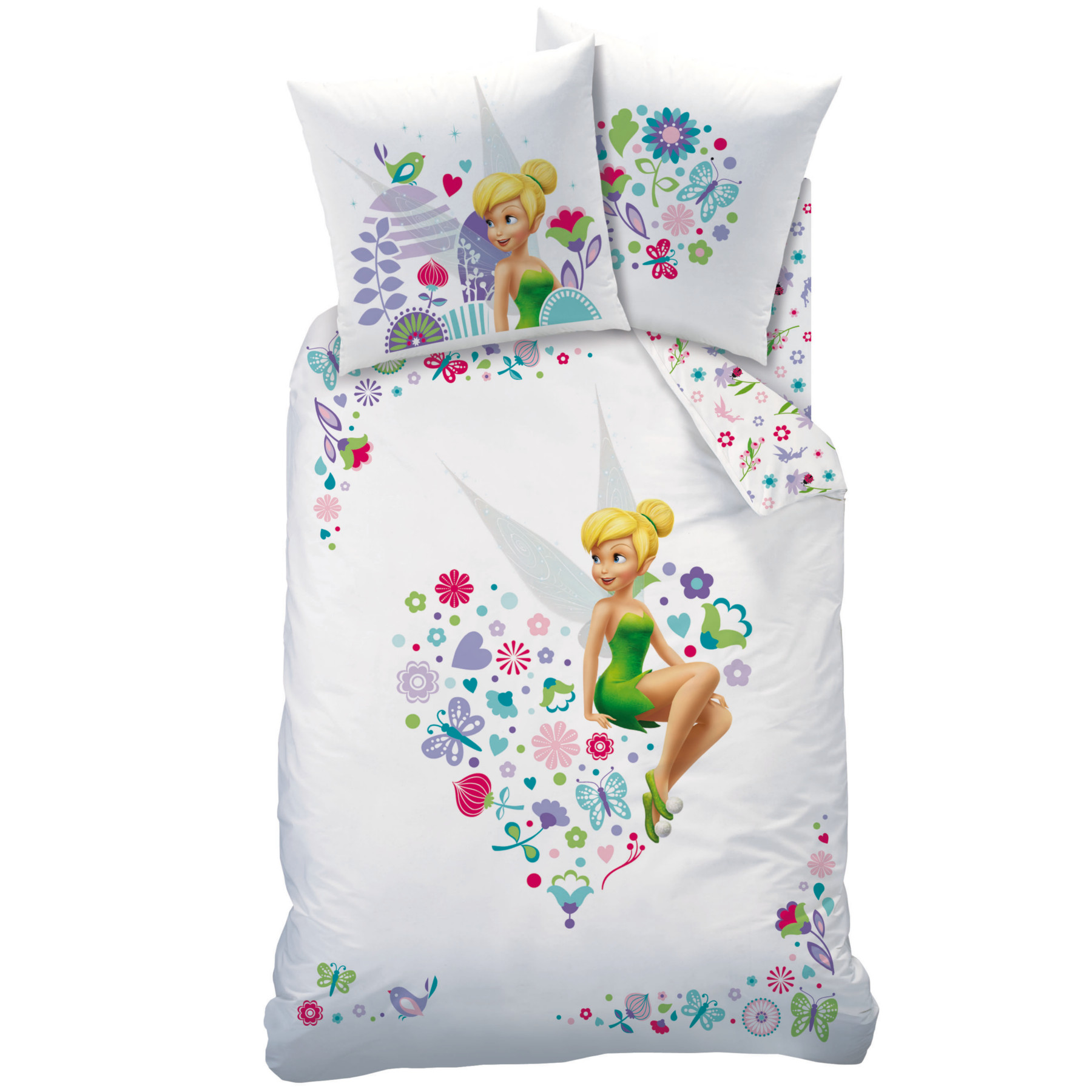 disney fairies f e clochette parure de lit housse de couette r versible 140 x 200 cm. Black Bedroom Furniture Sets. Home Design Ideas