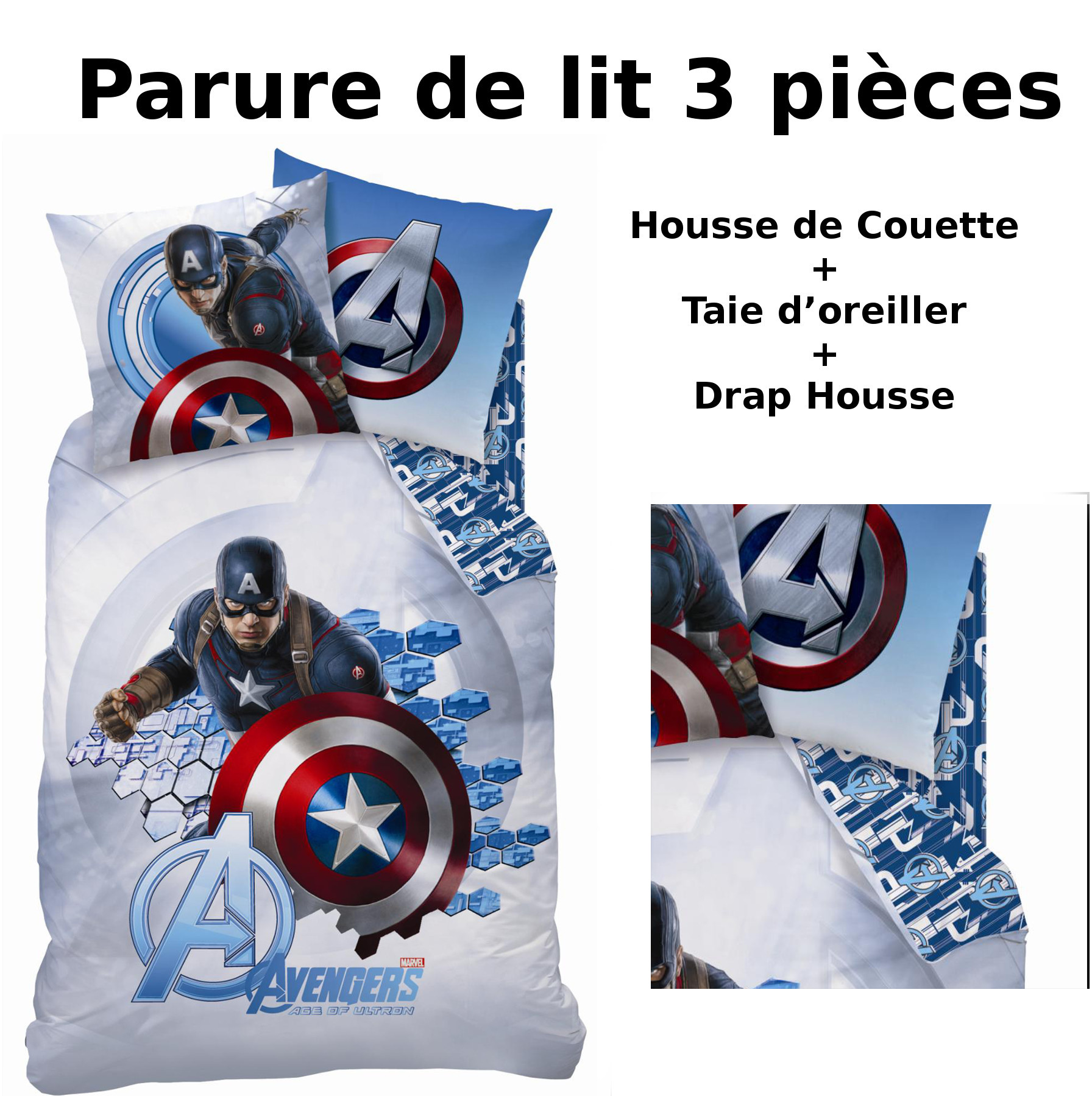 avengers parure de lit 3pcs housse de couette taie d 39 oreiller drap housse captain. Black Bedroom Furniture Sets. Home Design Ideas