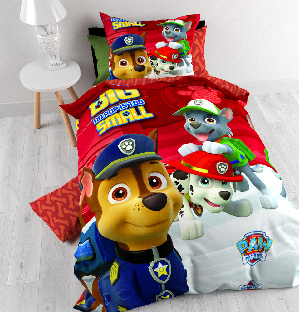 pat patrouille parure de lit housse de couette 140 x 200 cm paw patrol red pat. Black Bedroom Furniture Sets. Home Design Ideas