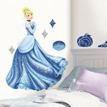 DISNEY PRINCESSE  - 1 sticker géant (100 cm) de Cendrillon (Robe scintillante) + 10 autocollants divers