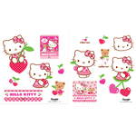 HELLO KITTY - 2 planches (30 x 40 cm) - 15 Stickers au total