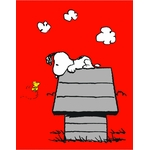 "SNOOPY - Plaid - couverture - 110 x 140 cm - "" Classic Red """