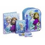 REINE DES NEIGES -Kit for School (5Pcs) -Sac à dos 37.5 cm + Trousse + Stylo + Farde A4 + Carnet A5