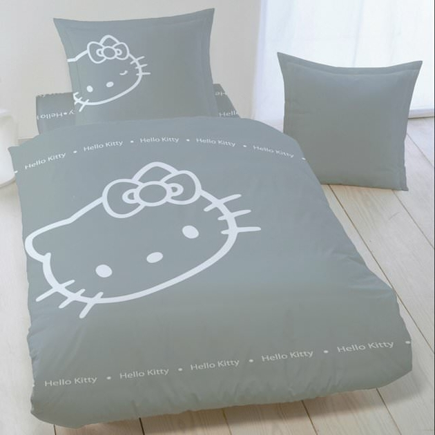 hello kitty parure de lit enfant housse de couette 100 coton blinky grey hello kitty. Black Bedroom Furniture Sets. Home Design Ideas