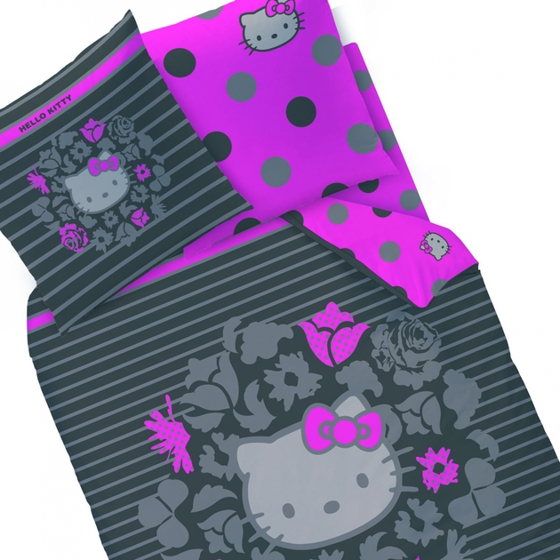 Housse de couette hello kitty rosa 140 x 200 cm for Housse de couette hello kitty