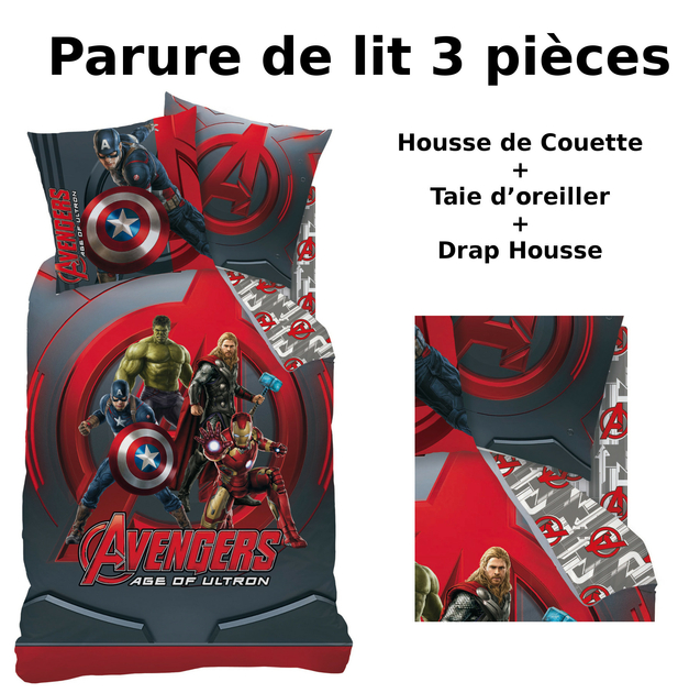 avengers parure de lit 3pcs housse de couette taie. Black Bedroom Furniture Sets. Home Design Ideas