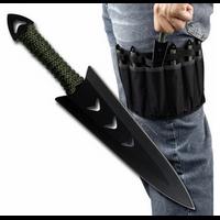 Lot 6 couteaux de lancer apache - Couteau en acier inox