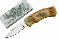 Couteau pliant loup, vie sauvage - WF0629