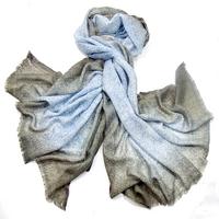 Etole laine étamine kaki bleu pointillés