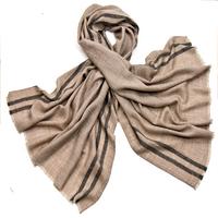Etole laine fine beige tissée avec rayures