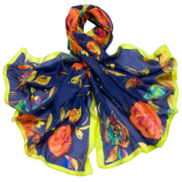 Etole en soie bleu marine roses premium