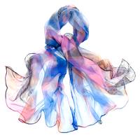 Foulard en mousseline de soie bleu vif italia