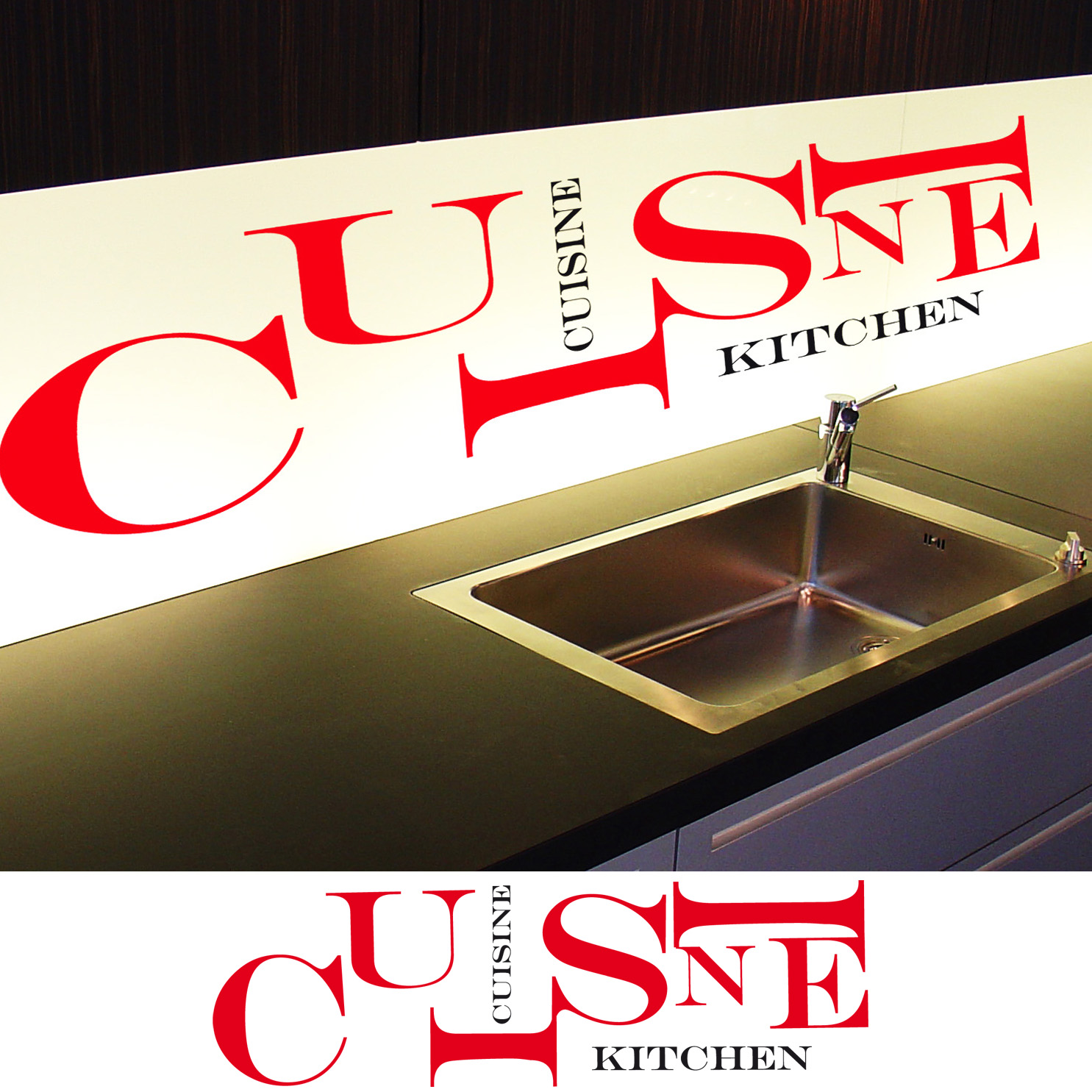 Stickers d co cuisine lettres horizontales deco cuisine for Destock cuisine
