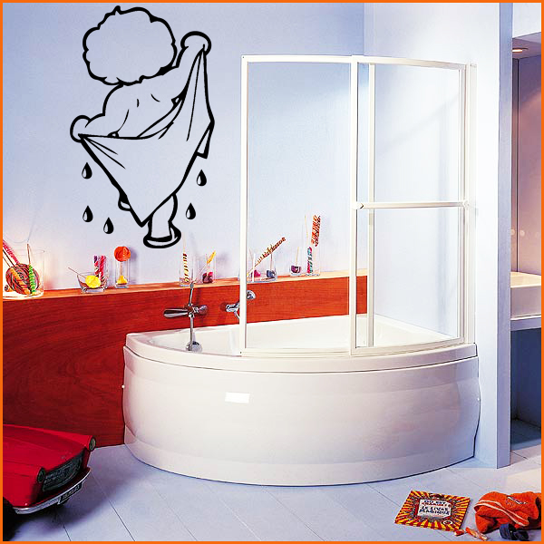 Stickers salle de bain enfant la serviette d co de la for Sticker fenetre salle de bain