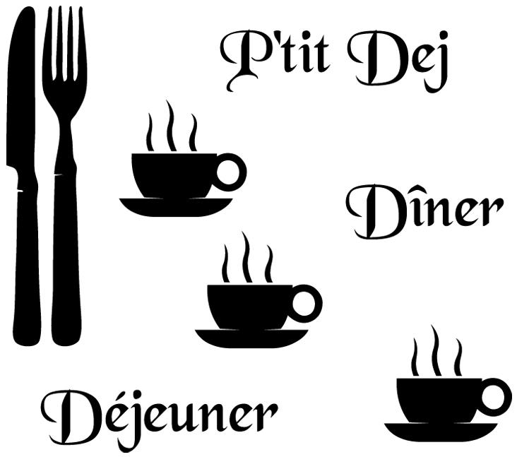 Stickers cuisine couverts tasses mots deco cuisine for Stickers deco cuisine