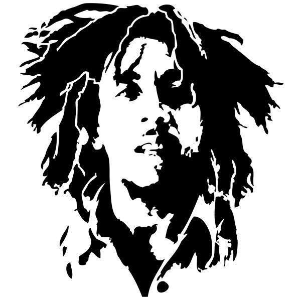 Stickers bob marley r f 08 musique chanteurs groupes for Peintures en noir et blanc