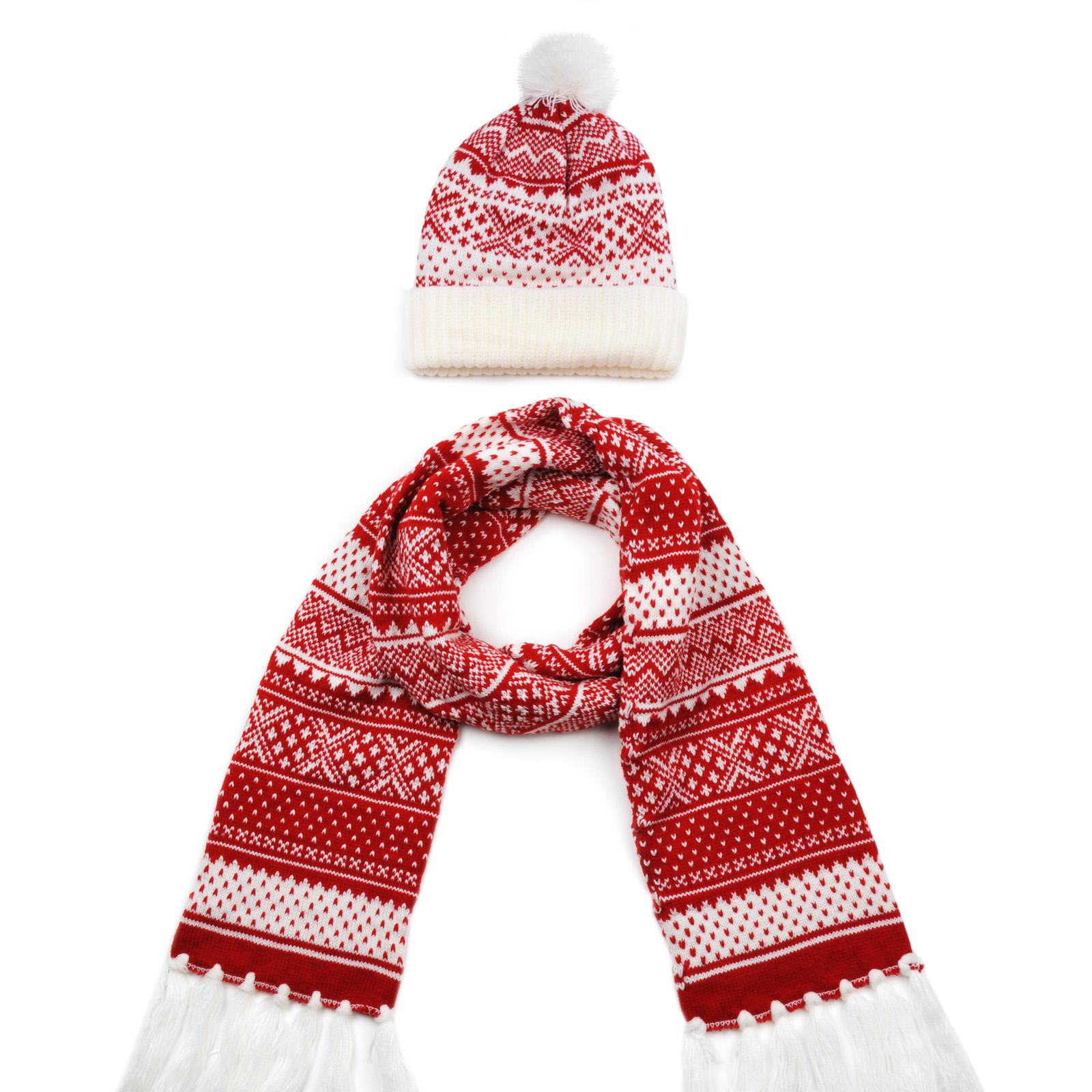 Echarpe et bonnet Jacquard pompon rouge a1b08350d68