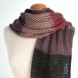 Echarpe XL maille large <br/>Rose / Anthracite / Mauve