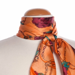 Carré de soie <br>Saddles and roses orange