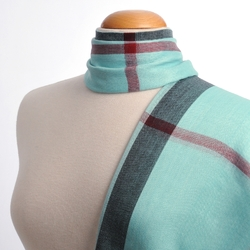 Foulard écharpe fine Simple tartan BLEU