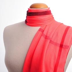 Foulard écharpe fine Simple tartan ROSE