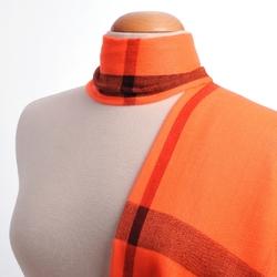 Foulard écharpe fine Simple tartan ORANGE