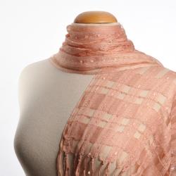 Echarpe soie mélangée Maillage ROSE PECHE