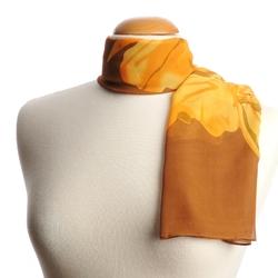 Foulard écharpe fine Grandes fleurs BRUN