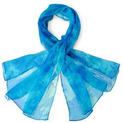 Foulard mousseline de soie <br/>Floraly Turquoise