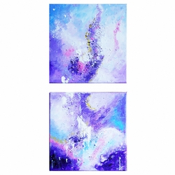 Tableau Abstrait Violet Diptyque Vertical Peinture Abstraite Art Style Deco