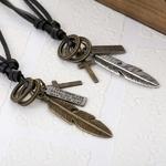 Collier-de-plumes-en-alliage-de-mode-r-glable-en-cuir-corde-bijoux-Collier-Sautoir-longs