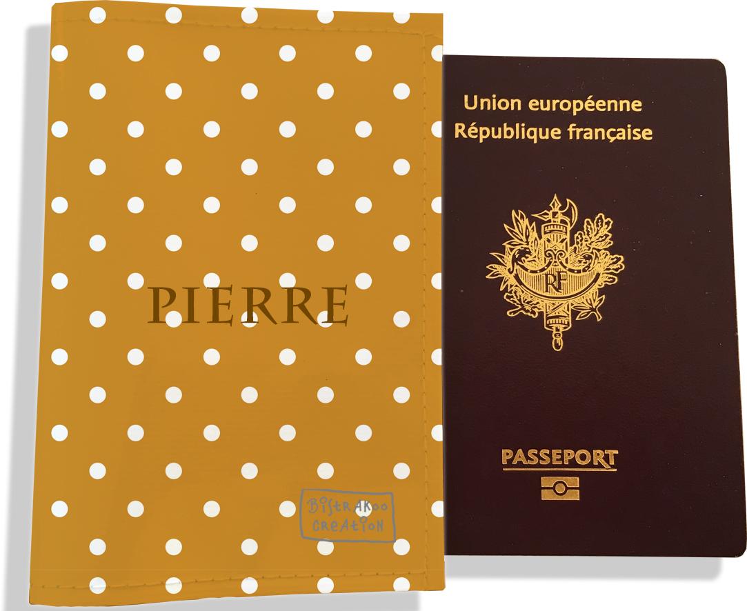 Protège passeport personnalisable pour homme motif Pois