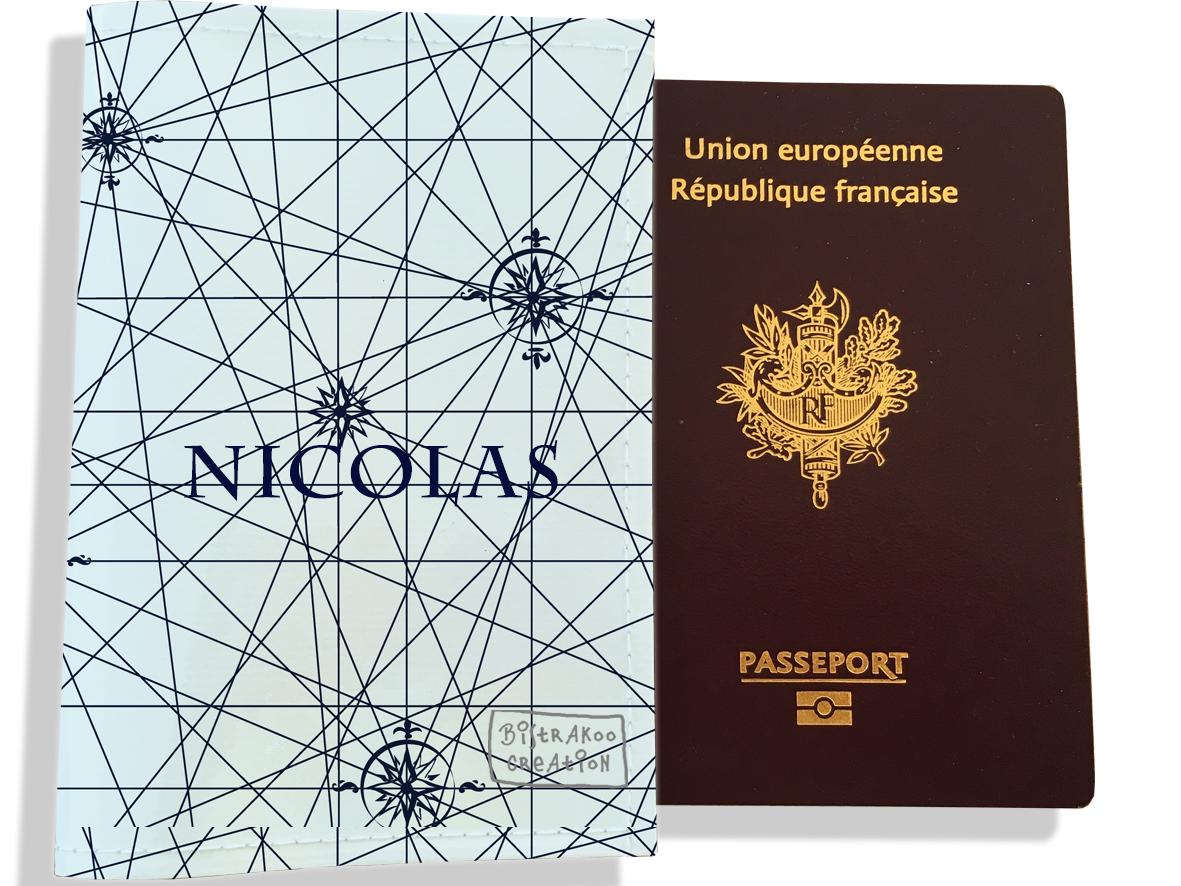 Protège passeport personnalisable pour homme motif Carte