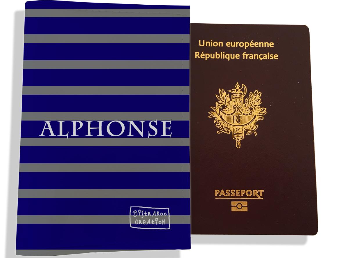 Protège passeport personnalisable pour homme motif Marinière