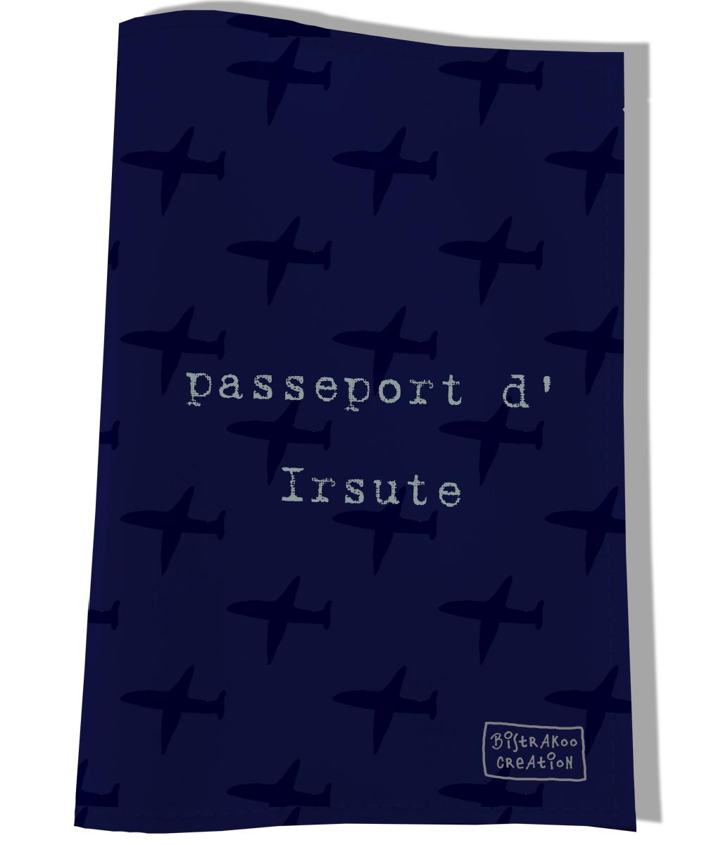 Protège passeport personnalisable pour chien coloris bleu marine