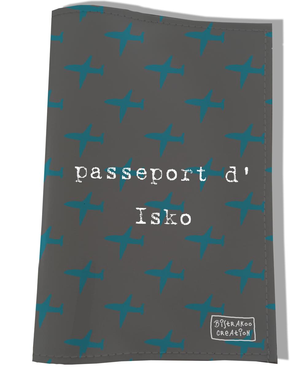 Protège passeport personnalisable pour chien coloris gris