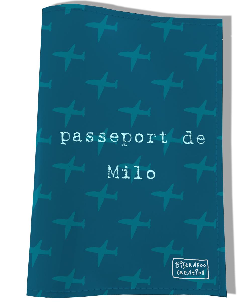 Protège passeport personnalisable pour chien coloris bleu