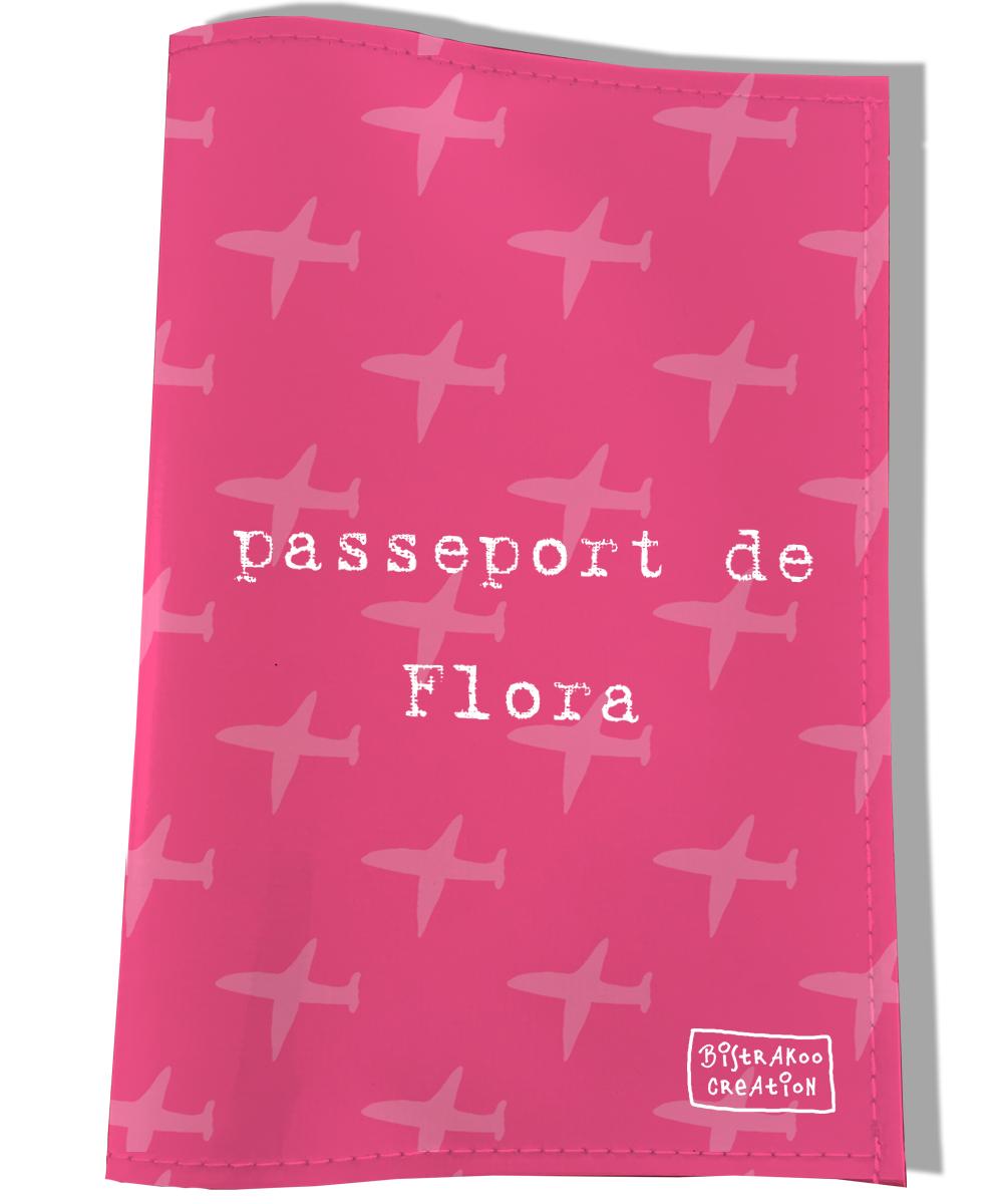 Protège passeport personnalisable pour chien coloris rose