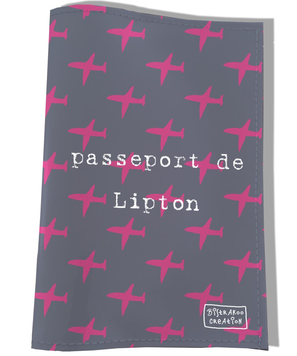 Protège passeport personnalisable pour chien coloris gris et rose