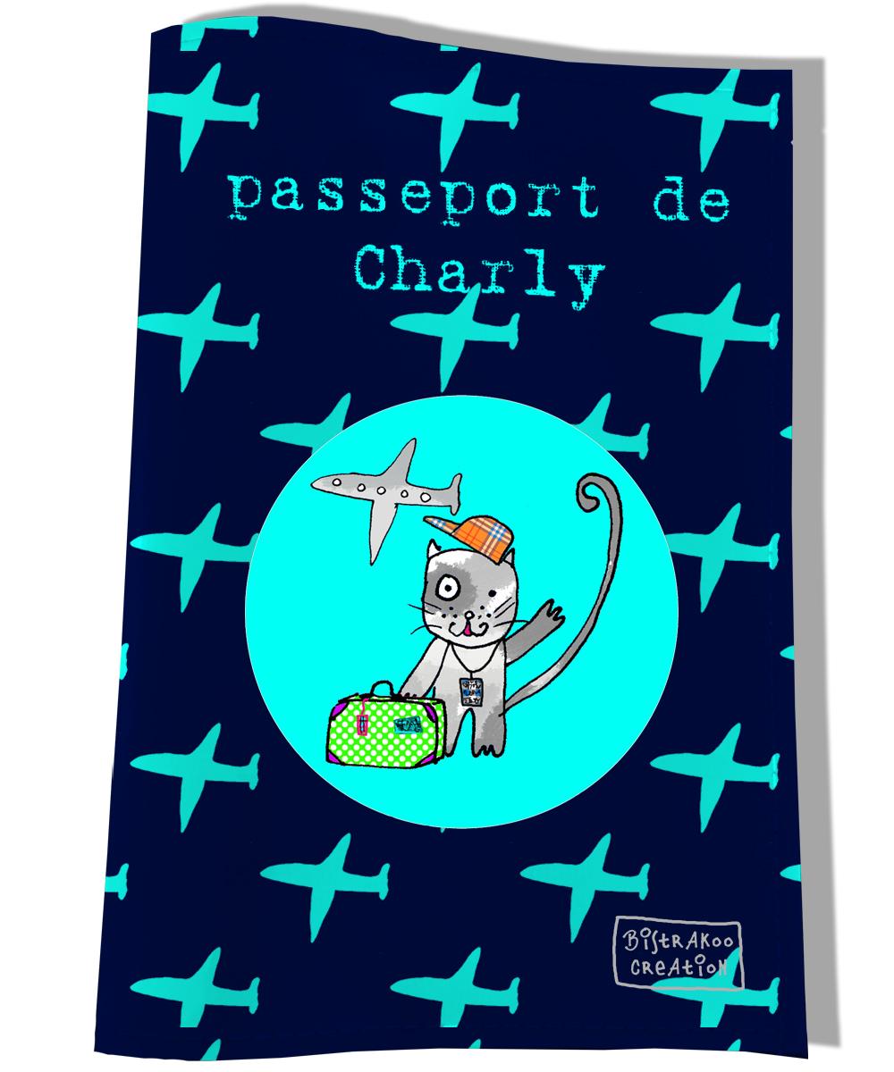 Protège passeport personnalisable pour chat coloris bleu