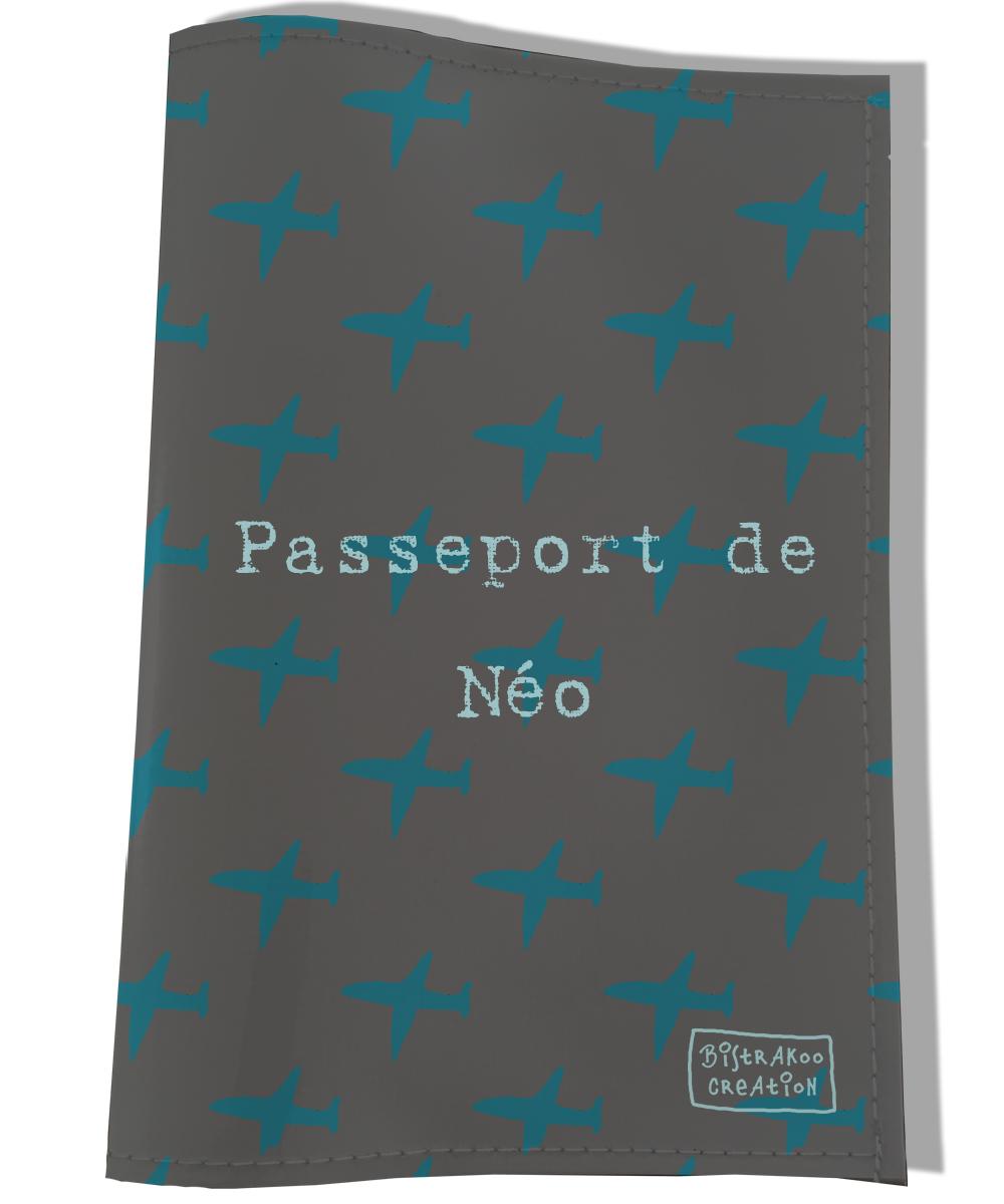 Protège passeport personnalisable pour chat coloris gris et bleu