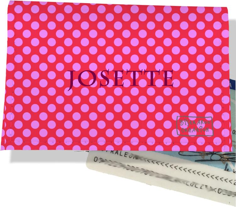 Porte-carte d\'identité personnalisable pour femme motif Pois