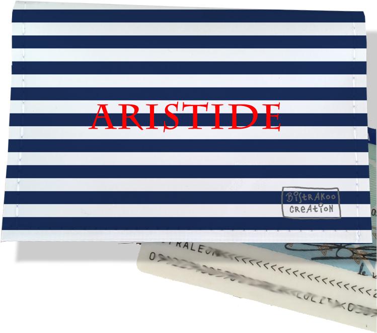 Porte-carte d\'identité personnalisable pour homme motif Marinière