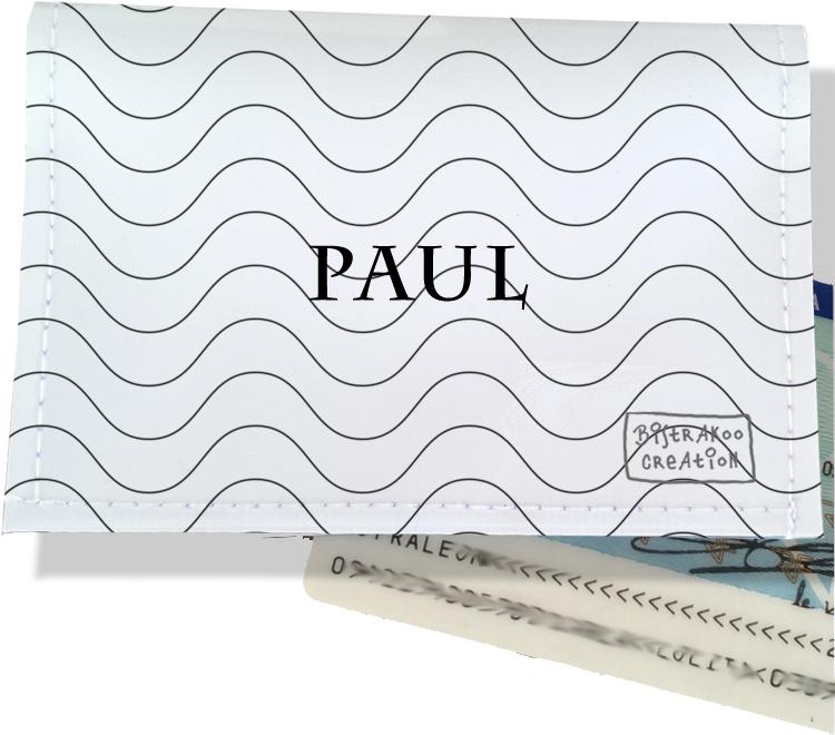 Porte-carte d\'identité personnalisable pour homme motif Vagues