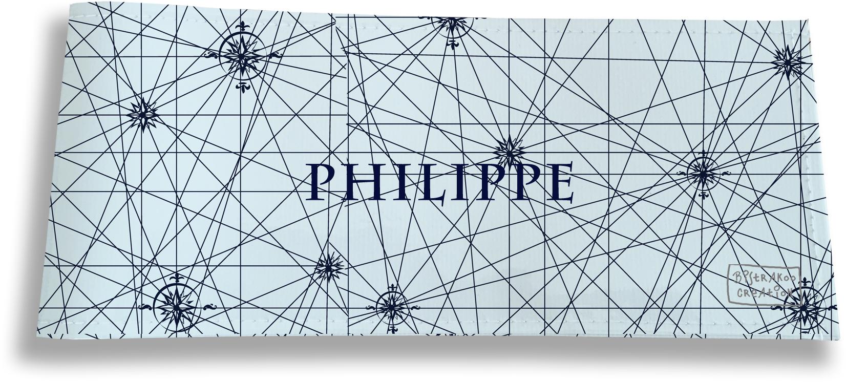 Porte-chéquier long horizontal personnalisable à rabats pour homme motif Carte