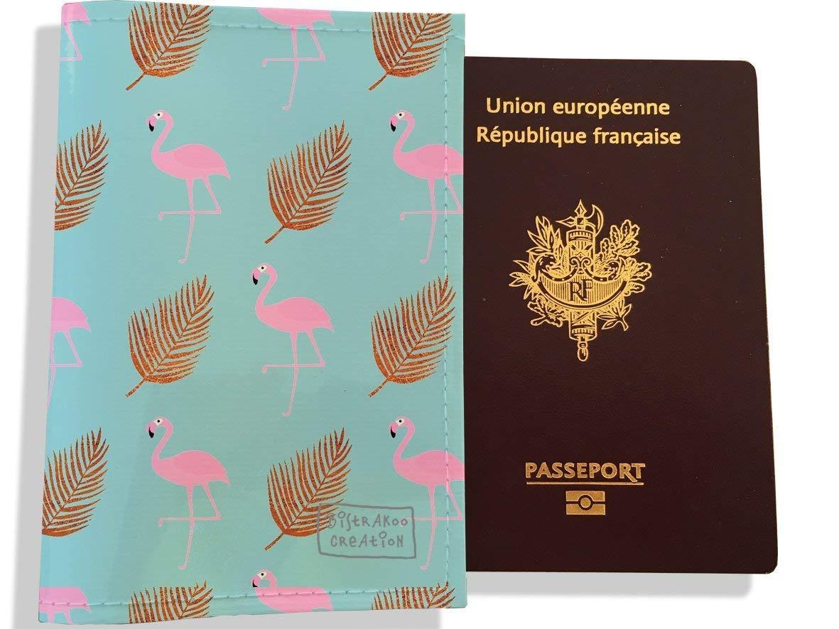 Protège passeport femme motif Flamants rose et plumes or 3219-2017