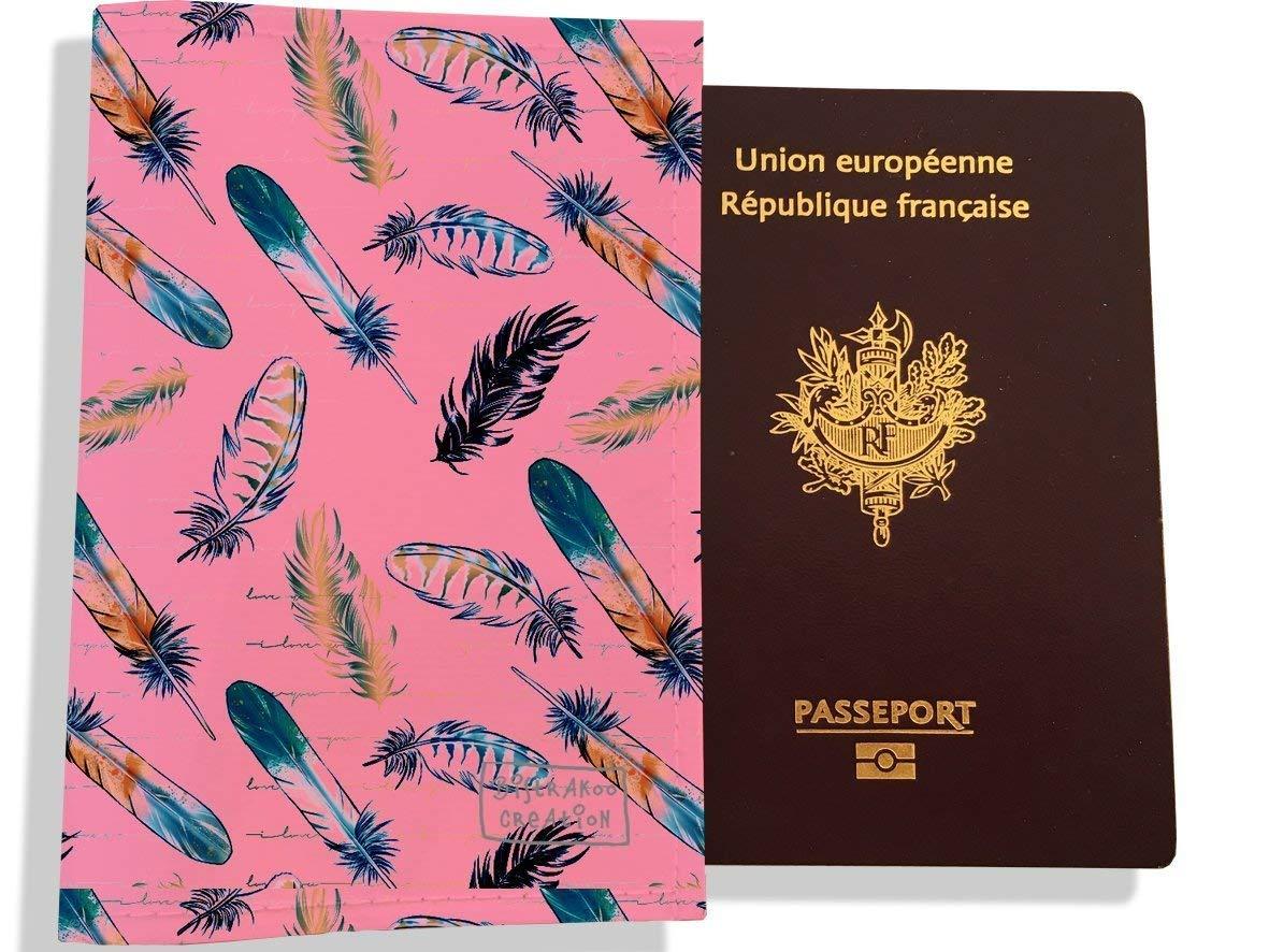 Protège passeport femme motif plumes multicolores 3239-2017