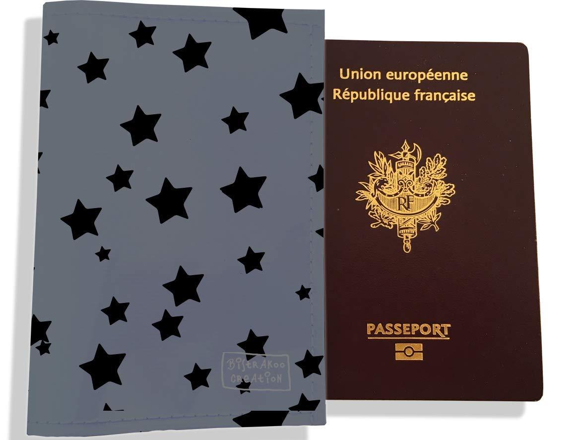 Protège passeport femme motif Etoiles noires fond gris PP902