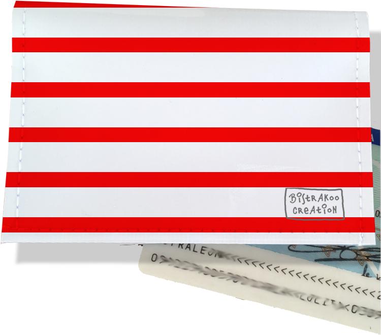 Porte-carte d\'identité pour femme motif Marinière rouge 2124