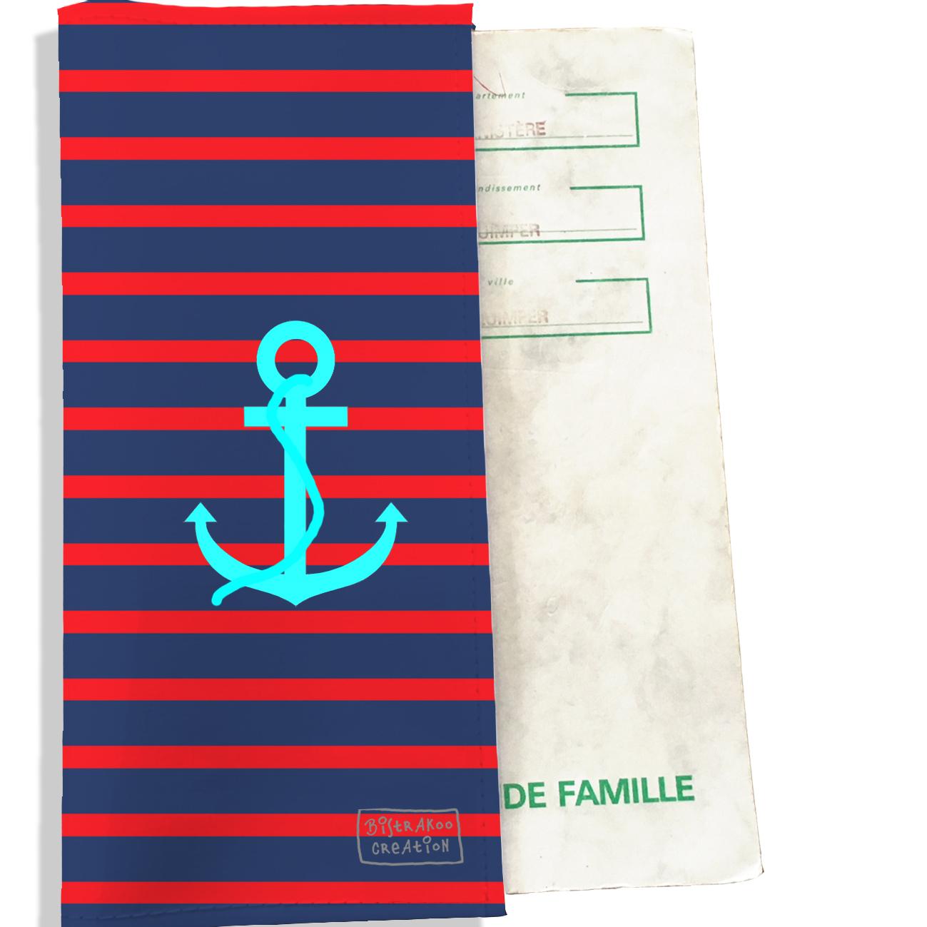 Protège livret de famille motif Ancre bleue fond marinière bleu et rouge L1003